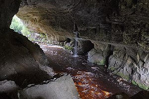 Oparara Basin Arches - Oparara Arch, with Oparara River below colored a reddish brown by natural tannins