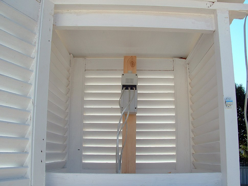 Inside a single louvered stevenson screen