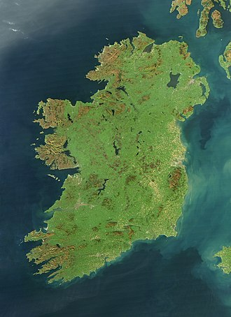 "Geography of Ireland - Ireland is sometimes known as the ""Emerald Isle"" because of its green landscape, as can be seen in this satellite image."