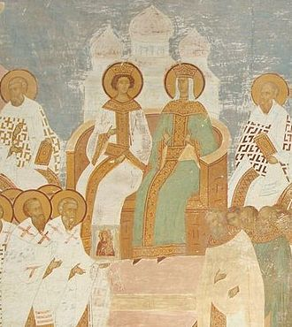 Staurakios (eunuch) - 15th-century fresco showing Empress Irene and Emperor Constantine VI presiding over the final session of the Seventh Ecumenical Council (Second Council of Nicaea), which first overturned Iconoclasm.