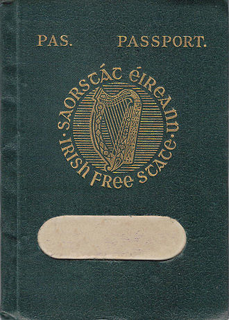 Irish nationality law - Irish Free State passport cover as issued 1927 (holder's name removed)