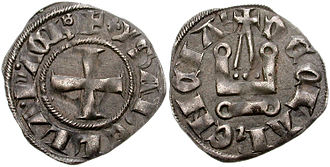 Glarentza - Denier tournois of Princess Isabella of Villehardouin, struck at Glarentza
