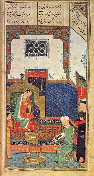 Alexander the Great in the Quran - 15th century Persian miniature painting from Herat depicting Iskander, the Persian name for Alexander the Great