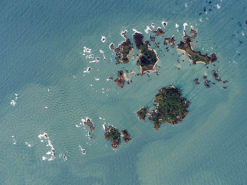 An aerial photo of the Isles of Scilly, Great Britain.