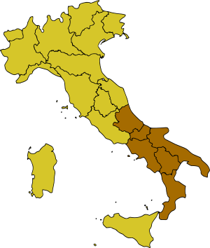 English: Map of real Southern italy