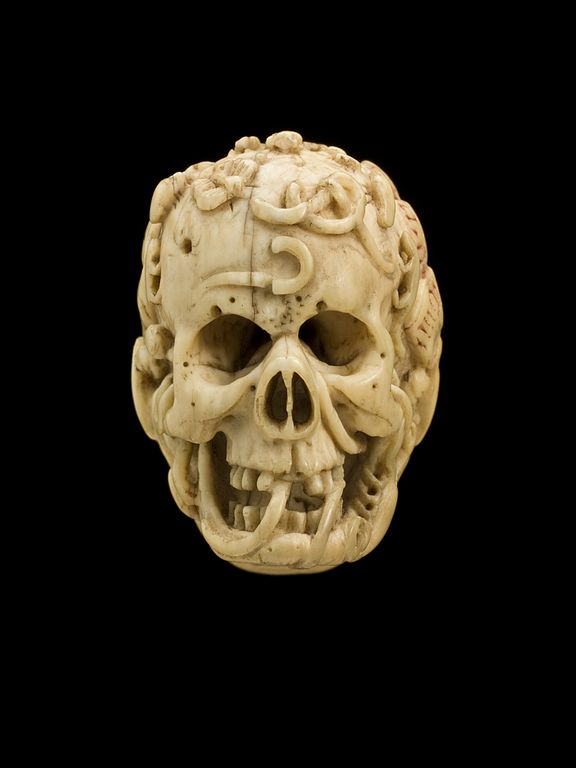 File:Ivory model of half a human head, half a skull ...