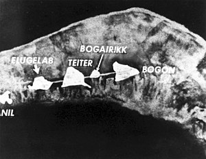 Ivy Mike - Enewetak Atoll, before Mike shot. Note island of Elugelab on left.