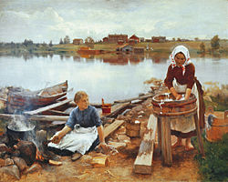 JÄRNEFELT Eero Laundry at the river bank 1889