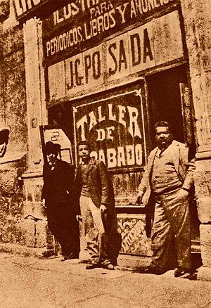 José Guadalupe Posada - J.G. Posada print shop, Mexico, ca 1900 (Posada not present)