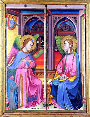 Jacopo di Paolo - Jacopo di Paolo. L'Annunciazione, 1390-1400, tempera e oro su tavola – Bologna, Collezioni Comunali d'Arte