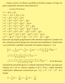 Cutout Of A Page From Ars Conjectandi Showing Bernoulli S Formula For Sum Integer The Last Line Gives His Eponymous Numbers