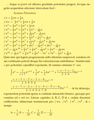 Ars Conjectandi - Cutout of a page from Ars Conjectandi showing Bernoulli's formula for sum of integer powers. The last line gives his eponymous numbers.