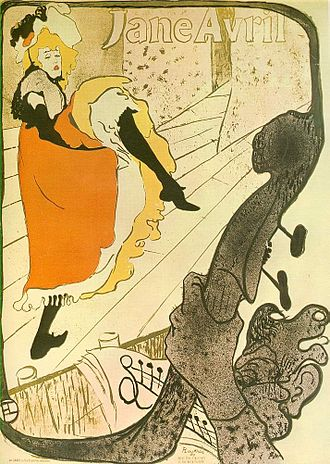 Jane Avril - Jane Avril, poster, 1893, by Toulouse-Lautrec