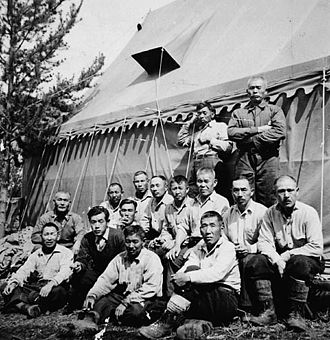 Japanese Canadian internment - A road crew of interned men building the Yellowhead Highway.