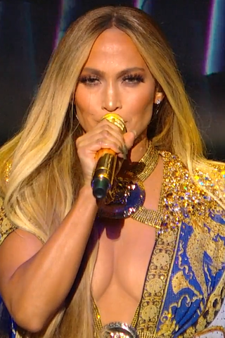 Lopez performing during the 2018 MTV Video Music Awards.