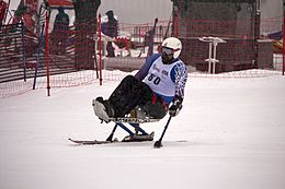 Joe Tompkins competing in the Super G during the 2012 IPC Nor Am Cup at Copper Mountain.jpg