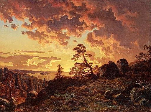 Johan Edvard Bergh - Solnedgång över fjärden (1855)