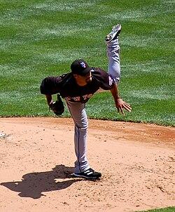 Johan Santana releasing a pitch in May 2008