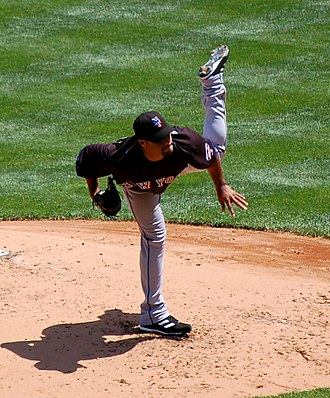 Johan Santana - Santana releasing a pitch in May 2008