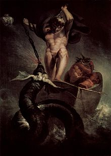 Painting of Thor fighting serpent