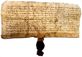 Manor of Raleigh, Pilton - Latin deed of 31 January 1362 sealed by Johannes de Ralegh. North Devon Record Office 50/11/1/1