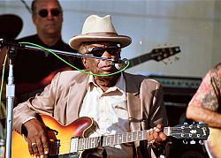 Hooker performing at the Long Beach Blues Festival, Long Beach, California, August 31, 1997