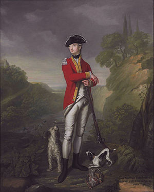 East Yorkshire Regiment - John Theophilus Rawdon-Hastings, 2nd son of the 1st Earl of Moira, in the uniform of the 15th Regiment of Foot (1776) with a flintlock gun.