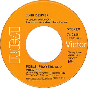 Take Me Home, Country Roads - Image: John denver with fat city Poems Prayers and Promises B side US vinyl single