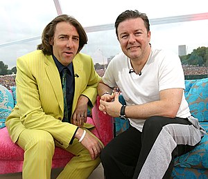 Ricky Gervais - Gervais (right) with Jonathan Ross at Live 8 in July 2005
