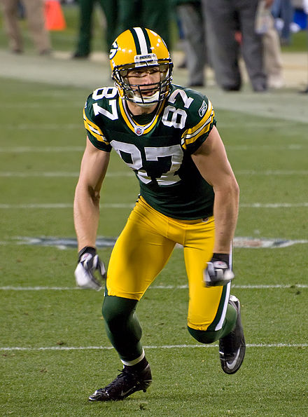 Jordy Nelson, who tore his ACL in the 2015 preseason, and would go on to be the NFL Comeback Player of the Year the following 2016 season upon returning from his injury Jordy Nelson 2011.jpg