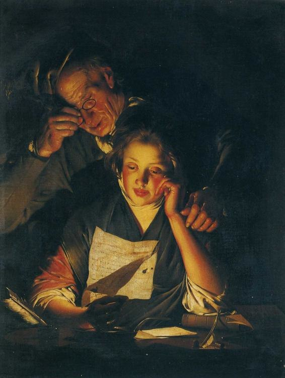 Joseph Wright of Derby. A Young Girl Reading a Letter, with an Old Man Reading over Her Shoulder. c. 1767-70