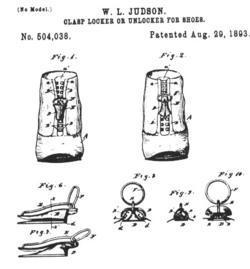 'gesper loker' paten, 1893. Asli buatan Judson