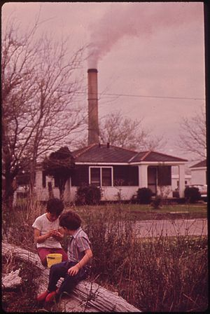 Chalmette, Louisiana - Children playing near the Kaiser Aluminum plant in 1973