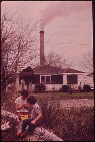 Chalmette, Louisiana - Children playing near the Kaiser Aluminum plant in 1973
