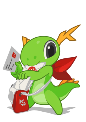 Kontact - KDE mascot Konqi and KDE mail applications.