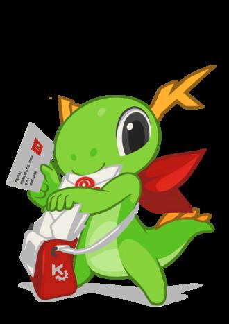 Kontact - KDE mascot Konqi and KDE mail applications.