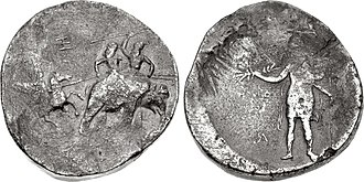 """Abulites - The """"Porus"""" coinage of Alexander, struck circa 325-323 BC in Susa or Babylon, often bears the marks """"AB"""" and """"Ξ"""" (here """"Ξ"""" appears on the obverse and """"AB"""" on the reverse -the hoops of the """"B"""" appear on the left leg of the """"A""""), which may correspond to Abulites and Xenophilus."""