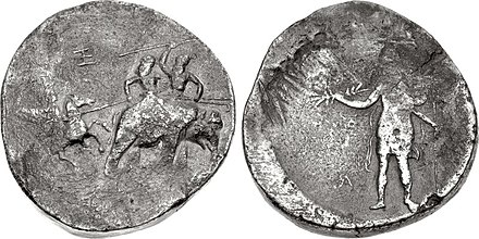 "The ""Porus"" coinage of Alexander, struck circa 325-323 BC in Susa or Babylon, often bears the marks ""AB"" and ""Ks"" (here ""Ks"" appears on the obverse and ""AB"" on the reverse -the hoops of the ""B"" appear on the left leg of the ""A""), which may correspond to Abulites and Xenophilus. KINGS of MACEDON. Alexander III 'the Great'. 336-323 BC. AR Poros medallion.jpg"