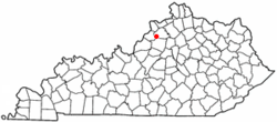 Location of Smithfield, Kentucky