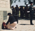 Karen Bradley MP lays a wreath at the Ulster Tower (28367328987).png