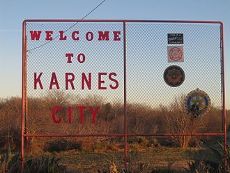 Karnes City, Texas - Welcome sign at Karnes City