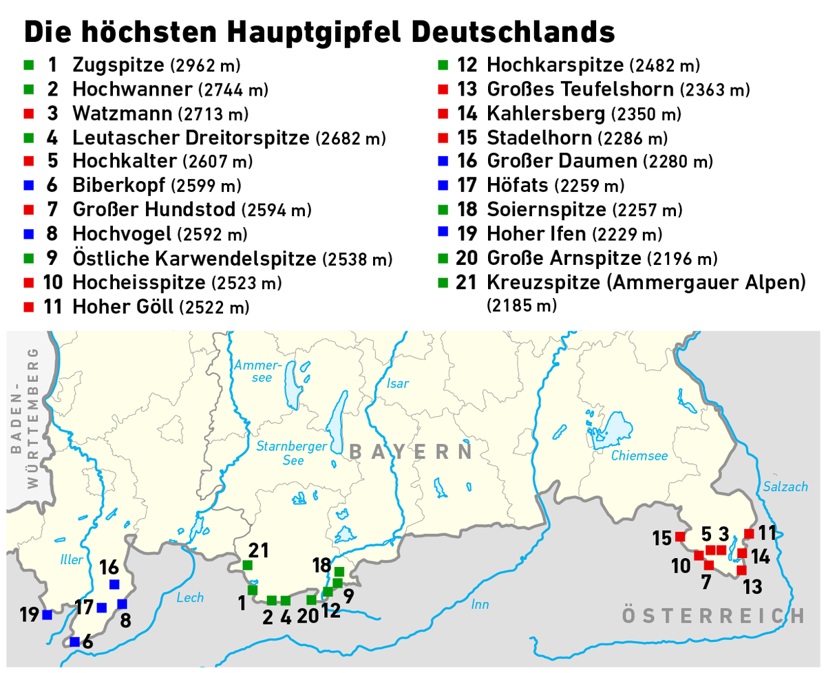 Map Of Germany Mountains.List Of Highest Mountains Of Germany Wikipedia
