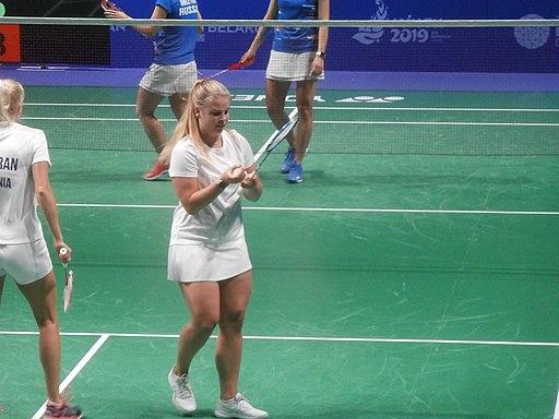 Kati-Kreet Marran and Helina Ruutel on badminton court in Falcon Club in Minsk 27 June 2019