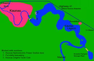 Kaunas Reservoir - Schematic map of Kaunas Reservoir region
