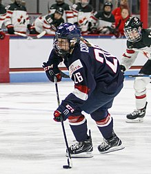 Kendall Coyne playing for Team USA in 2017