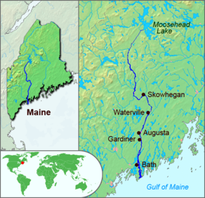 The course of the Kennebec River