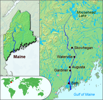 The French claimed that the Kennebec River formed the border between Acadia and New England, seen here on a map of Maine Kennebec River Map.png
