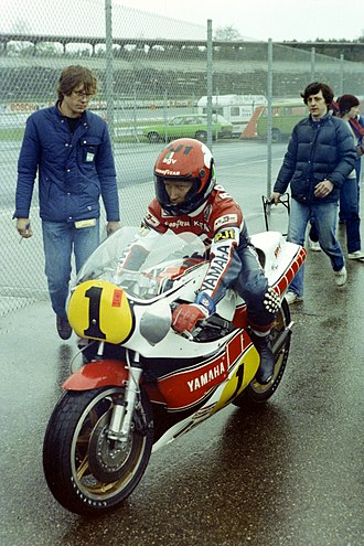 Yamaha Motor Company - Three-time Grand Championship winner Kenny Roberts at the 1981 German Grand Prix.