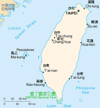 Map showing the location of Kenting National Park