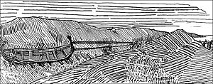Magnus Barefoot - Magnus demonstrating that Kintyre was part of the Scottish agreement, as imagined in Gustav Storm's 1899 edition of Heimskringla
